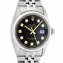 Rolex Mens Stainless Steel 36MM Black Diamond Datejust Wristwatch With Rolex Box