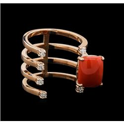 14KT Rose Gold 3.06 ctw Coral and Diamond Ring