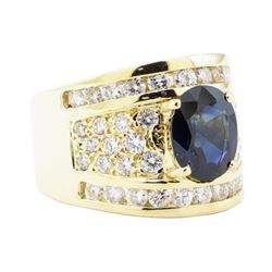 3.29 ctw Blue Sapphire And Diamond Ring - 14KT Yellow Gold