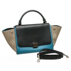 Celine Blue Leather Trapeze Two-Way Bag