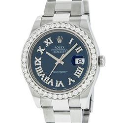 Rolex Mens Stainless Steel Black Roman Diamond 3.5 Carat 41MM Datejust 2 Wristwa