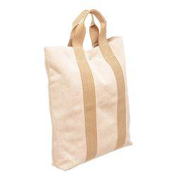 Hermes Peach Tan Canvas Vertical Herline Tote Bag