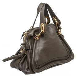 Chloe Brown Leather Paraty Medium Satchel Handbag