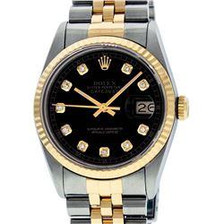 Rolex Mens 2 Tone 14K Black Diamond 36MM Datejust Wristwatch