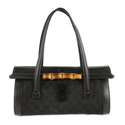 Gucci Bamboo Bullet Black Gg Canvas Shoulder Bag