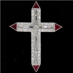 Platinum 1.56 ctw Round Baguette Diamond & Trillion Ruby Cross Pendant Pin Brooc