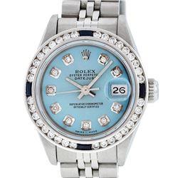 Rolex Ladies Stainless Steel Blue Diamond & Channel Set Sapphire Datejust Wristw