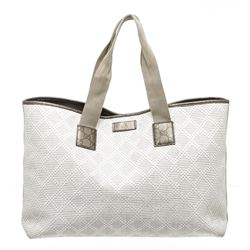 Gucci White Metallic Olive Green Straw Shopper Tote Bag