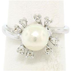 14K White Gold 7.5mm Cultured Pearl & 8 Single Cut Diamond Petite Cluster Ring