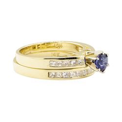1.54 ctw Blue Sapphire And Diamond Ring And Band - 14KT Yellow Gold