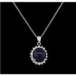 13.12 ctw Sapphire and Diamond Pendant - 14KT White Gold