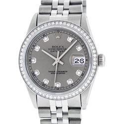 Rolex Mens Stainless Steel Slate Grey Diamond 36MM Datejust Wristwatch