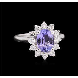 2.07 ctw Tanzanite and Diamond Ring - 14KT White Gold