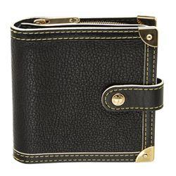 Louis Vuitton Black Suhali Leather Compact Zippy Wallet