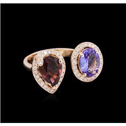 1.67 ctw Pink Tourmaline, Tanzanite and Diamond Ring - 14KT White Gold