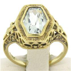Antique Art Deco 14kt Yellow Gold Aquamarine Solitaire Ring