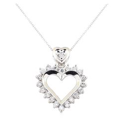 1.03 ctw Diamond Pendant And Chain - 14KT White Gold