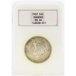 1937 Roanoke Island 350th Anniversary Commemorative Half Dollar Coin NGC MS64