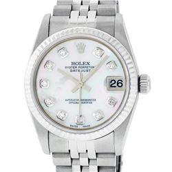Rolex Womens Midsize 31mm MOP Diamond Stainless Steel Datejust Wriswatch