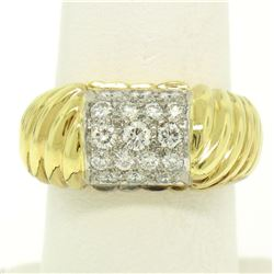 Estate 18k Yellow Gold E VVS2 1.01 ctw Pave Set Diamond Scalloped Ribbed Ring