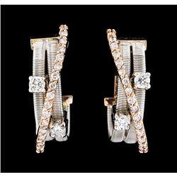0.58 ctw Diamond Earrings - 14KT Two-Tone Gold