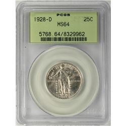 1928-D Standing Liberty Quarter Coin PCGS MS64 Old Green Holder
