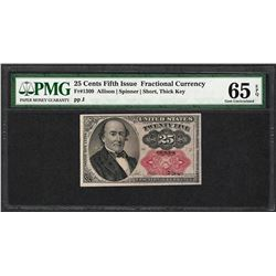 1874 25 Cents Fifth Issue Fractional Currency Note Fr.1309 PMG Gem Uncirculated 65EPQ
