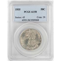 1935 Walking Liberty Half Dollar Coin PCGS AU58