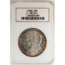 1886 $1 Morgan Silver Dollar Coin NGC MS63 Nice Toning Old Fatty Holder
