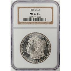 1881-S $1 Morgan Silver Dollar Coin NGC MS63 PL