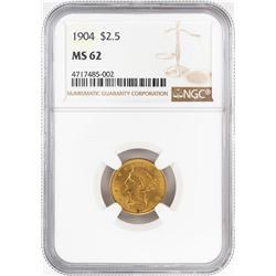 1904 $2 1/2 Liberty Head Quarter Eagle Gold Coin NGC MS62