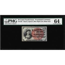 1863 10 Cent Fourth Issue Fractional Currency Note Fr.1261 PMG Choice Uncirculated 64