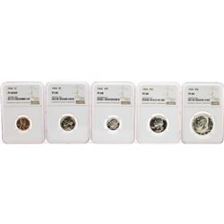 1964 (5) Coin Proof Set Graded NGC PF68