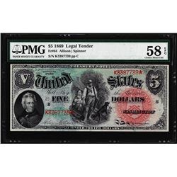 1869 $5 Rainbow Legal Tender Note Fr.64 PMG Choice About Uncirculated 58EPQ Color