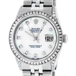 Rolex Men's Stainless Steel MOP Diamond Lugs 36MM Datejust Wristwatch