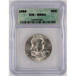1958 Franklin Half Dollar Coin ICG MS64