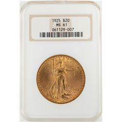 1925 $20 St. Gaudens Double Eagle Gold Coin NGC MS61