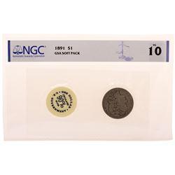 1891 $1 Morgan Silver Dollar Coin GSA Soft Pack NGC VG10
