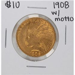 1908 with Motto $10 Indian Head Eagle Gold Coin