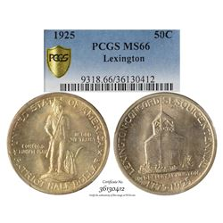 1925 Lexington Sesquicentennial Commemorative Half Dollar Coin PCGS MS66