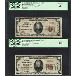 1929 $20 Ty.1/2 Citizens NB Washington, PA CH# 3383 National Currency Notes PCGS VF25