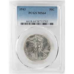1943 Walking Liberty Half Dollar Coin PCGS MS64
