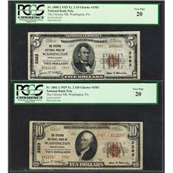 1929 Ty. 2 $5/10 Citizens NB Washington, PA CH# 3383 National Currency Notes PCGS VF20