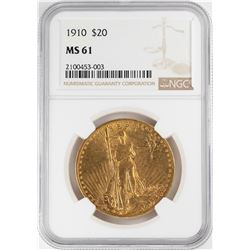 1910 $20 St. Gaudens Double Eagle Gold Coin NGC MS61