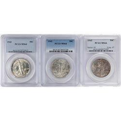 Lot of (3) 1942 Walking Liberty Half Dollar Coins NGC MS64