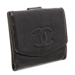 Chanel Black Caviar Leather Timeless Compact Wallet