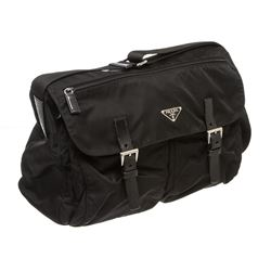 Prada Black Nylon Leather Crossbody Messenger Bag