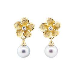 0.20 ctw Diamond and Tahitian Pearl Plumeria Earrings - 14KT Yellow Gold