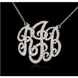 14KT White Gold 1.45 ctw Diamond Pendant With Chain