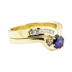 0.94 ctw Blue Sapphire and Diamond Ring Set - 14KT Yellow Gold